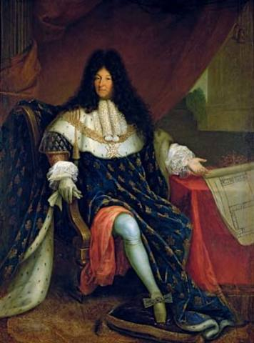 Portrait of Louis XIV holding the plan for the Royal House at Saint-Cyr