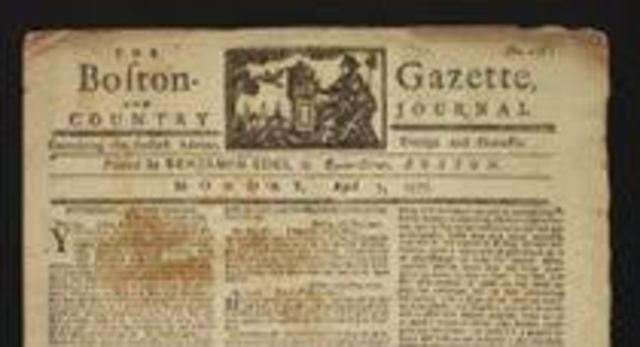 """A Gazeta de Boston, em sua edição de 20 de março, oferece num anúcio: """"material para ensino e tutoria por correspondência"""