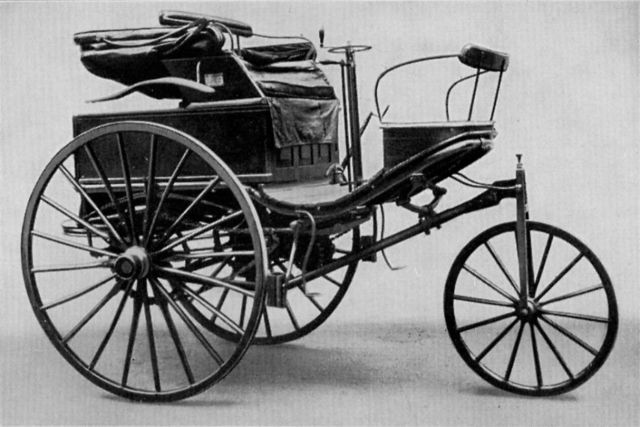 1885 – German engine designer Karl Benz builds the first true automobile powered by a gasoline engine.