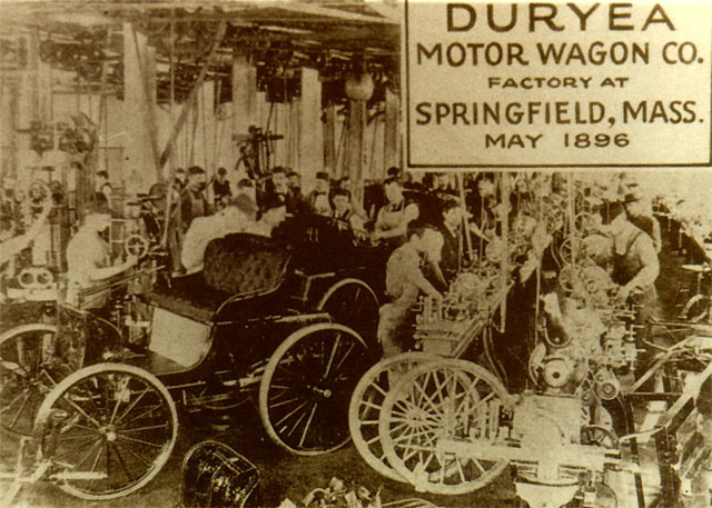 The Duryea brothers start the first American car manufacturing company in Springfield, Massachusetts. It is called Motor Wagons.