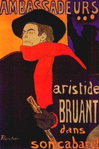 """""""Aristide Bruant dans son cabaret"""" Henri de Toulouse Lautrec"""