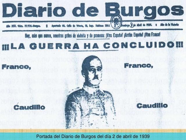 Declaracion de Franco en Burgos de fin de la guerra