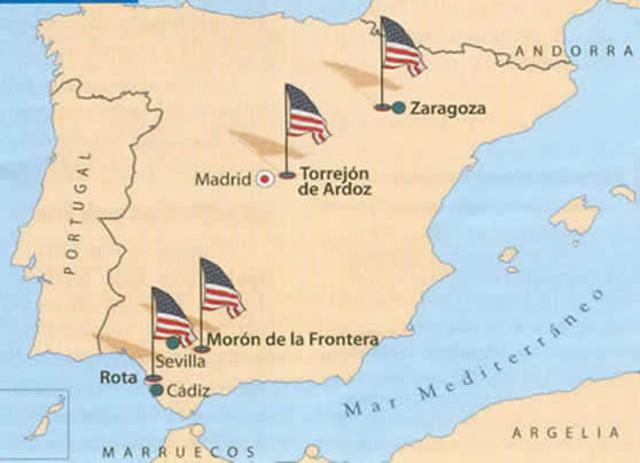 ingreso de España en la ONU y firma tratados militares con EEUU