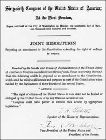 Ninetheenth Amendment Ratified