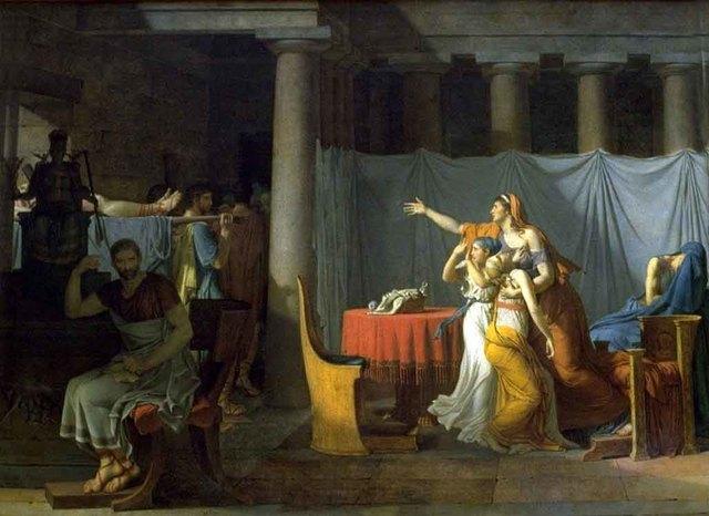 Los lictores llevando a Bruto los cuerpos de sus hijos