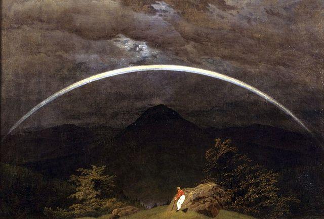 arcoiris en un paisaje de montañas