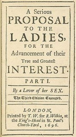 Mary Astell Writes Serious Proposal to the Ladies