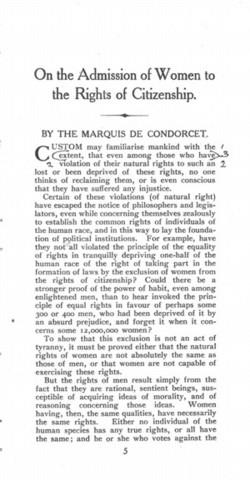 Condorcet Publishes a Treatise on The Rights Of Women