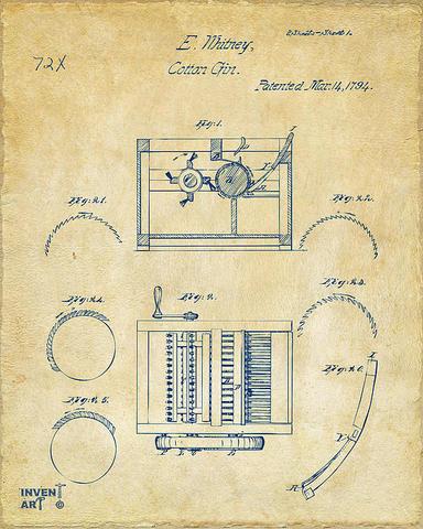 Eli Whitney Patents Cotton Gin