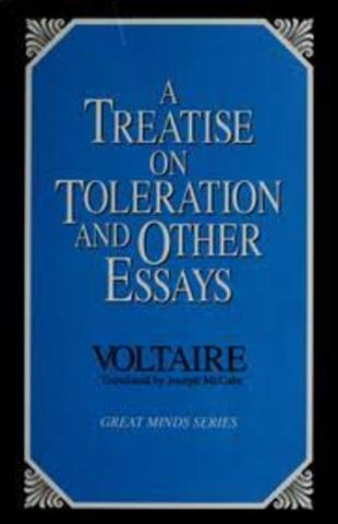 voltaire publishes treaties on toleration
