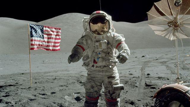 Apollo 11 lands on the moon