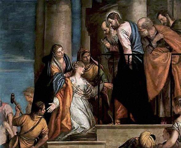 Hemorroísa a los pies de Cristo