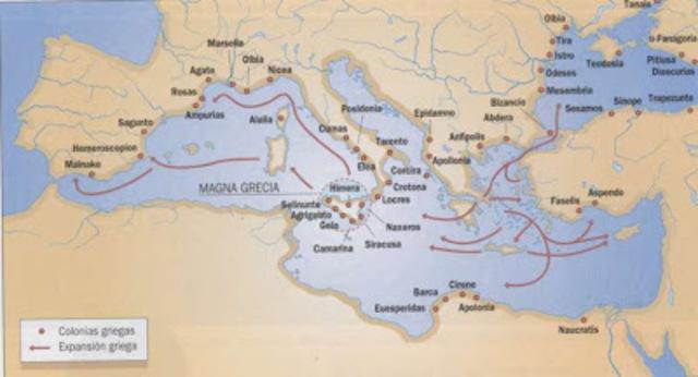 Comienza la colizacion de Grecia en  occidente