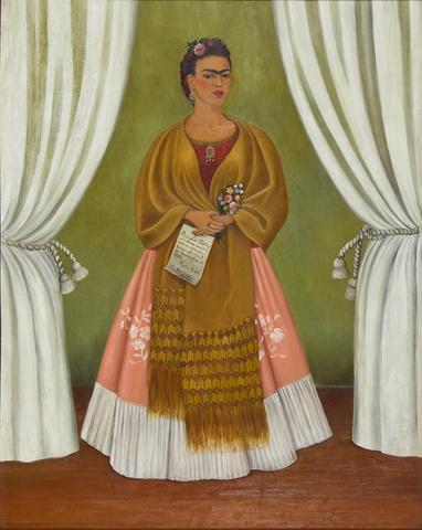 """Autorretrato """"dedicado a  Leon Trotsky (Entre las cortinas)"""" 30"""