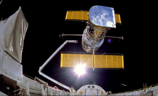 Hubble Space Telescope deployed by Discovery