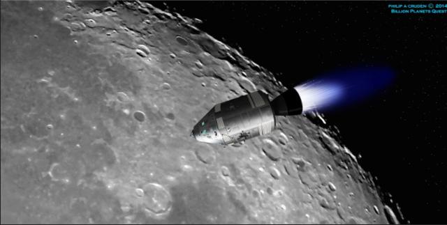 Apollo 8 orbits the moon