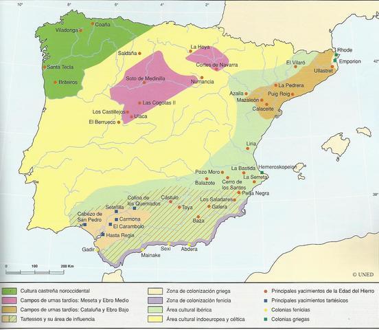 Fundación de Gádir La colonización fenicia de la Península Ibérica comenzó alrededor del año 1.100 a.C. con la fundación de la ciudad de Gádir (Cádiz) 1104, primera colonia creada en Occidente.