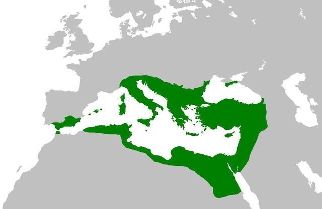 Máxima expansión del Imperio Romano de Oriente.