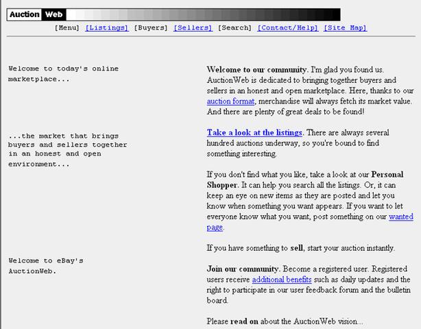 Nacimiento de Ebay (anteriormente llamado AuctionWeb)