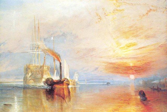 El Temerario remolcado al dique seco
