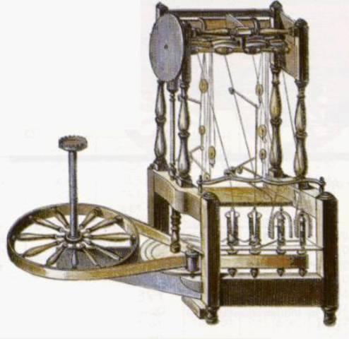 Invención de la water-frame (máquina de hilar) de Arwight