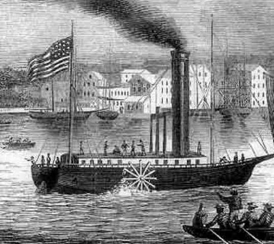 Construcción del primer barco de vapor  por R. Fulton