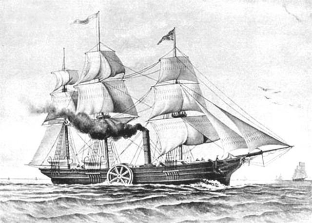 Primer barco de vapor que atravesó el Atlantico
