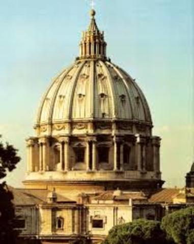 Miguel Ángel construye la cúpula de san Pedro en el Vaticano.1546