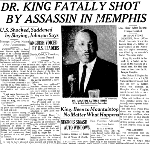 Assassinated in Memphis, Tennessee