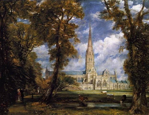 La catedral de Salisbury vista desde el jardín del palacio arzobispal