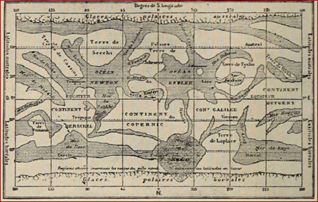 Camille Flammarion Mercator's projected a map of the Mars surface