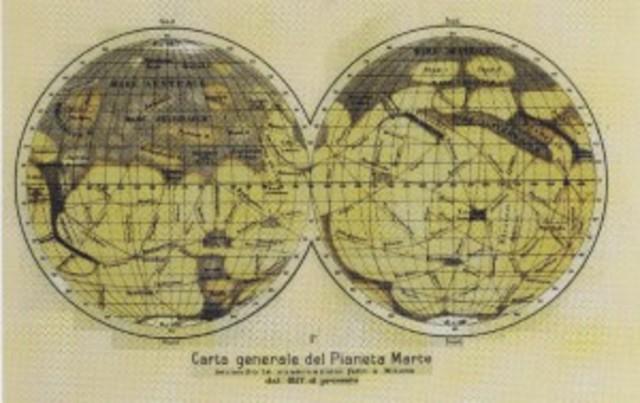 Giovanni Sciaparelli colored projected map of Mars