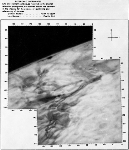 Composite shaded map of Mars from Mariner 4 as it flew over the Elysium Planitia region on Mars
