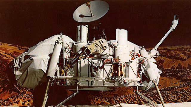 Viking 1, first man-made vehicle to reach Martian surface, which also produced first on the ground imaging of mars.