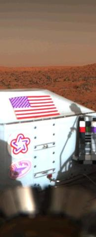 Viking Lander 1 image of Mars Surface with its American flag perfectly in shot
