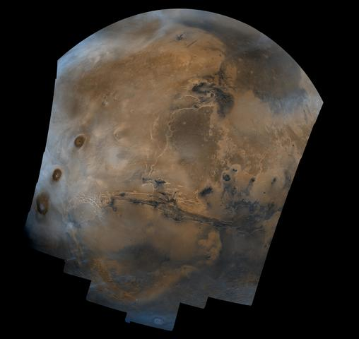 Viking Orbiter 1 image with much higher quality of Mars from orbit, one of the first images that began to change the understanding of Mars' true colors and atmosphere