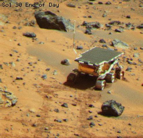 NASA's first Mars rover, Sojourner, as seen from Pathfinder.
