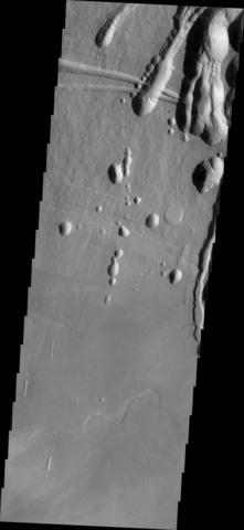 Odyssey orbital image of a portion Arsia Mons volcano