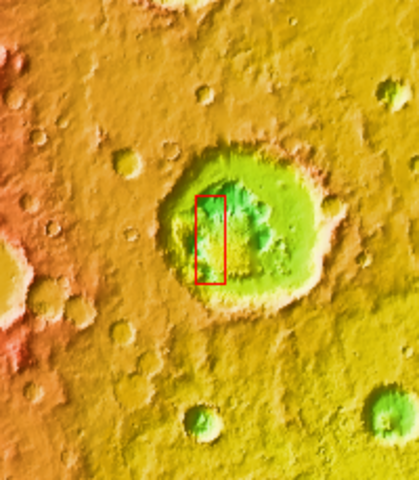 Odyssey orbital image of Rabe Crater.