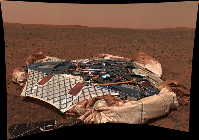 Spirit's landing site as seen through its front camera