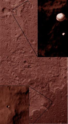 Orbital view of Curiosity's decent