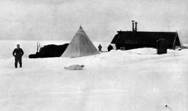 Scotts hut was blocked by ice.
