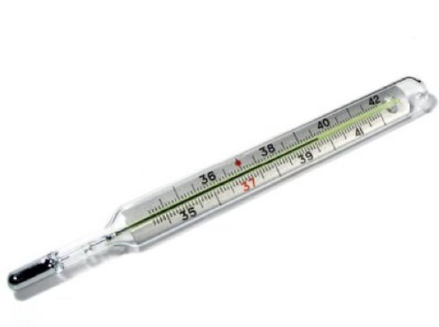 El termómetro de mercurio con bulbo