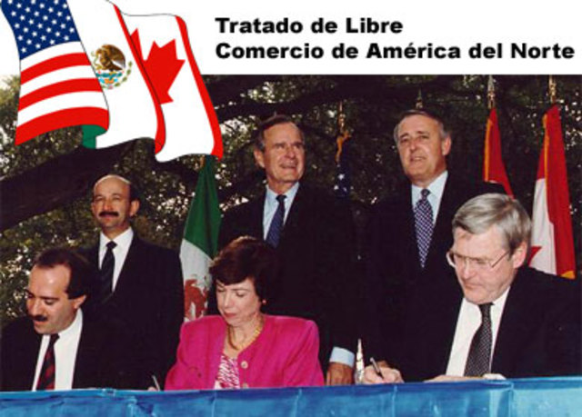 Mexico firma tratado de lider comecio de America de Norte con E.U.A y Canada.
