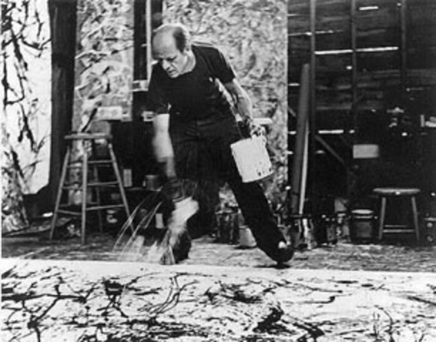 Influenced by a series of photographs taken by Hans Namuth of Jackson Pollock's process