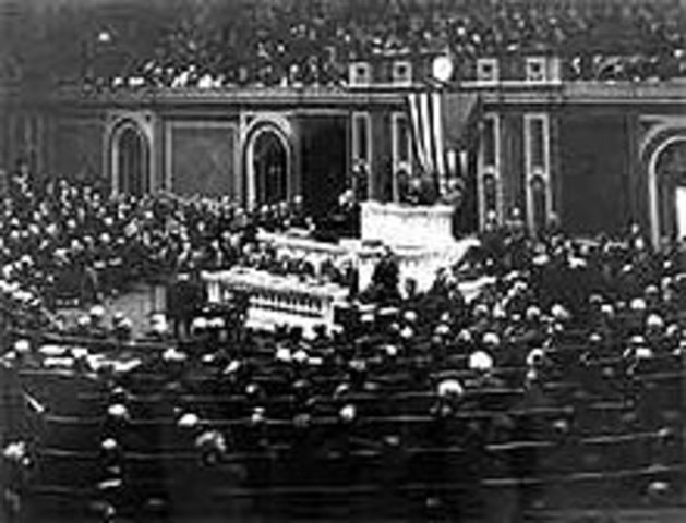 Wilson delivers the Fourteen Point to Congress