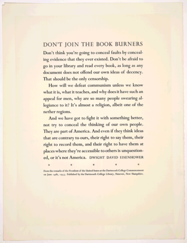 """""""Don't Join the Book Burners"""" Dwight Eisenhower, Dartmouth College"""