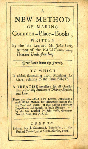 John Locke publishes A New Method of Making Common-Place-Books