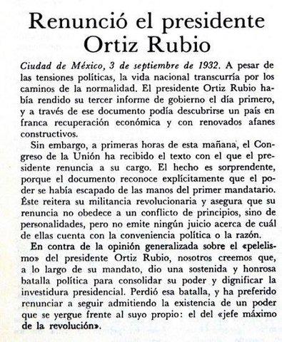 Pascual Ortíz Rubio renuncia a la presidencia [Político]