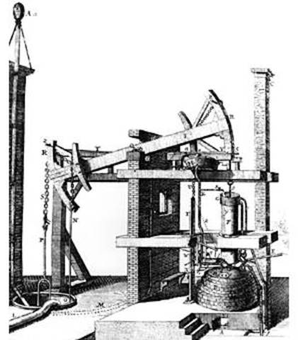 Thomas Newcomen inventa una máquina de vapor atmosférica de balancín